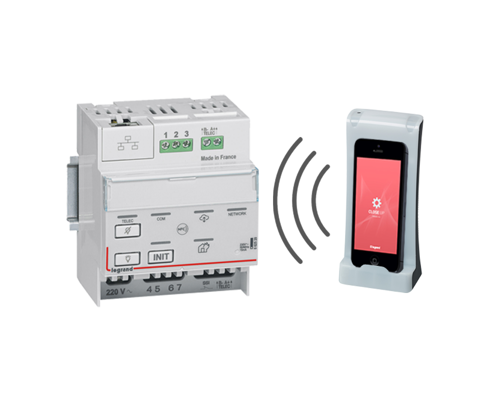 View of the emergency lighting controller and the configuration tool gateway for Lighting Management sensors
